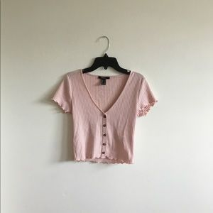 FOREVER 21 Deep V-Neck Button Down/ Size S